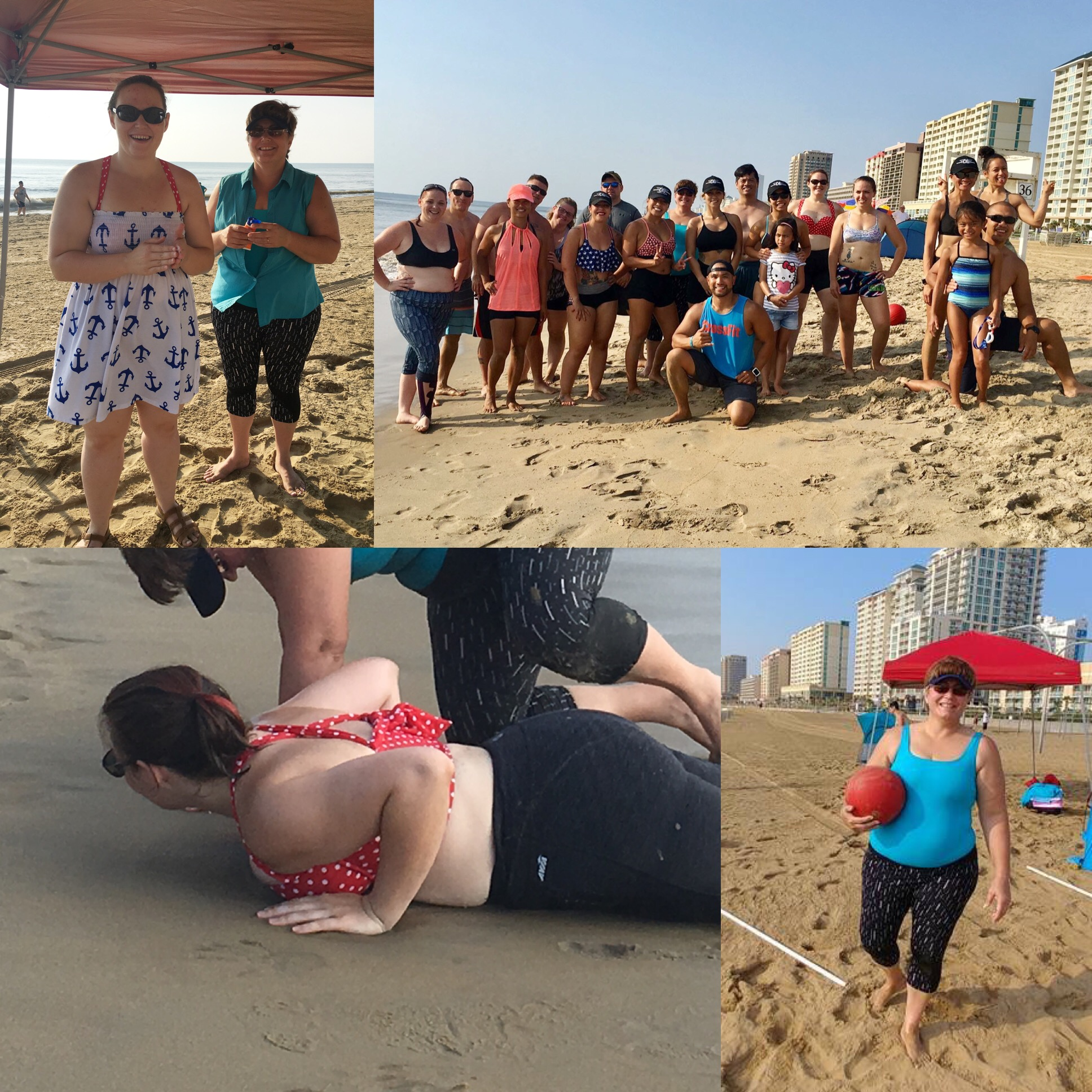 Stacey with her mom at last month's Beach WOD at the Oceanfront.