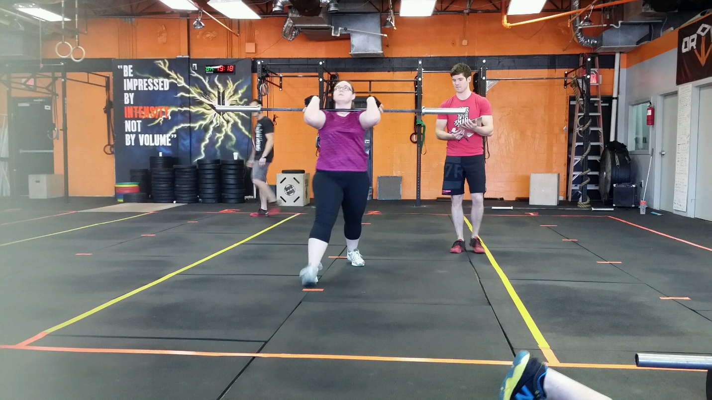 Stacey and her mom participated in their first CrossFit open as soon as they joined the box which served as a baseline for all the great progress to come and they both did awesome! Here she is in 2016!