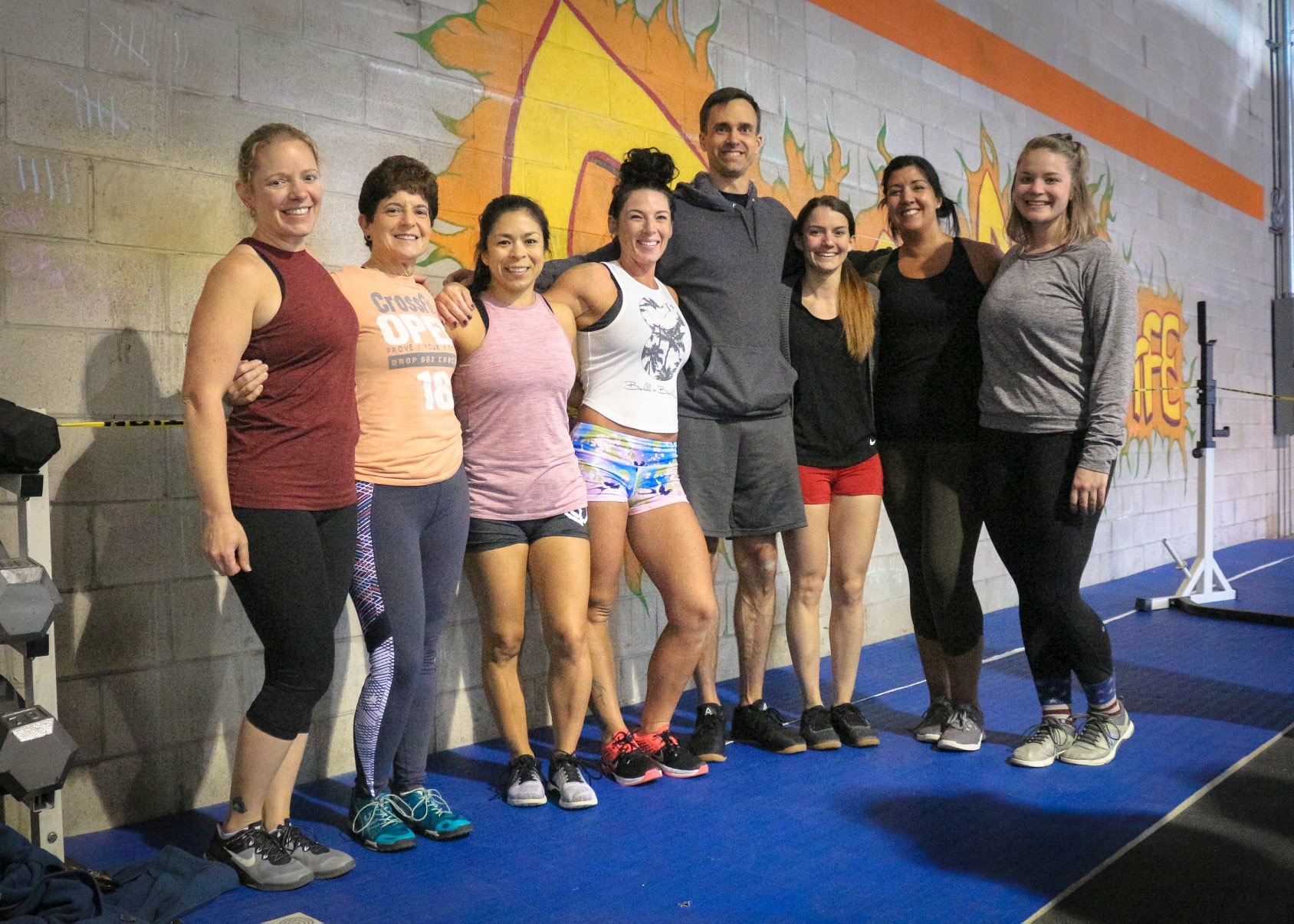 chriss with her fellow drop box competitors at the festivus games hosted by crossfit cafe.