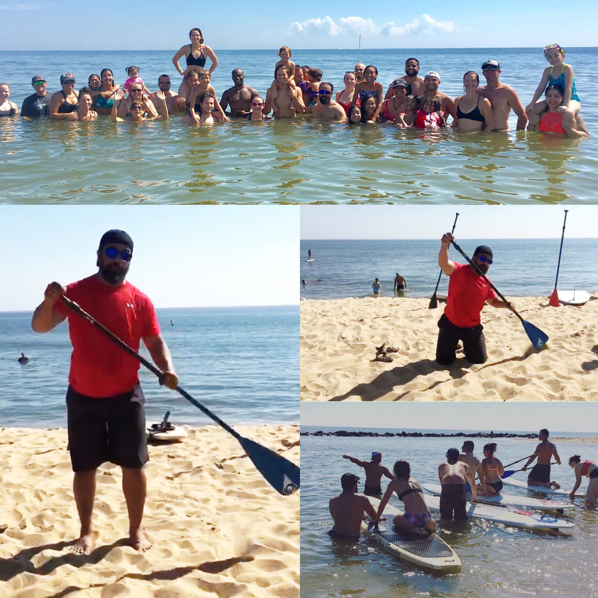 Beach WOD- JC loves to paddle board and owns a couple of boards. Here he is prepping the class