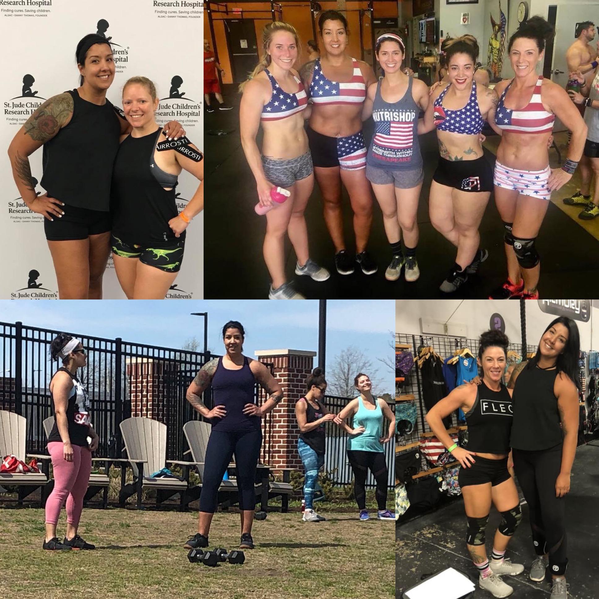 Top left: Compete For A Cure '19 w/ Erin, Kilo CrushFest '19 w/ Jamie, DBCF: w/ Julie, Lisa, Kim, Jamie