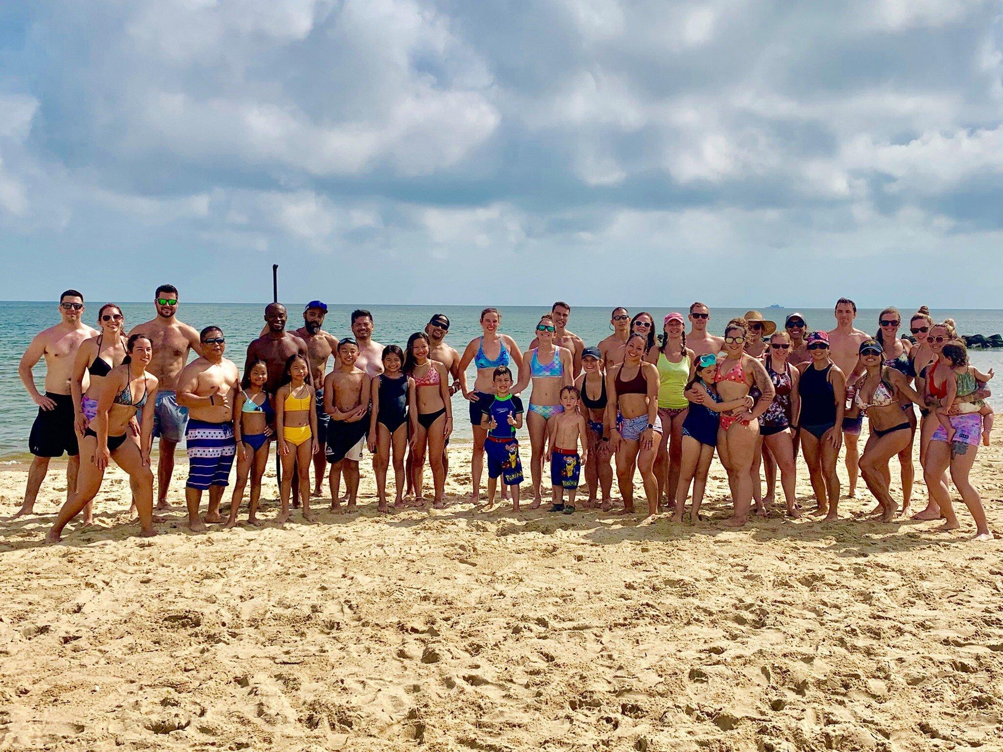 Shana (far right), Beach WOD! July 2019