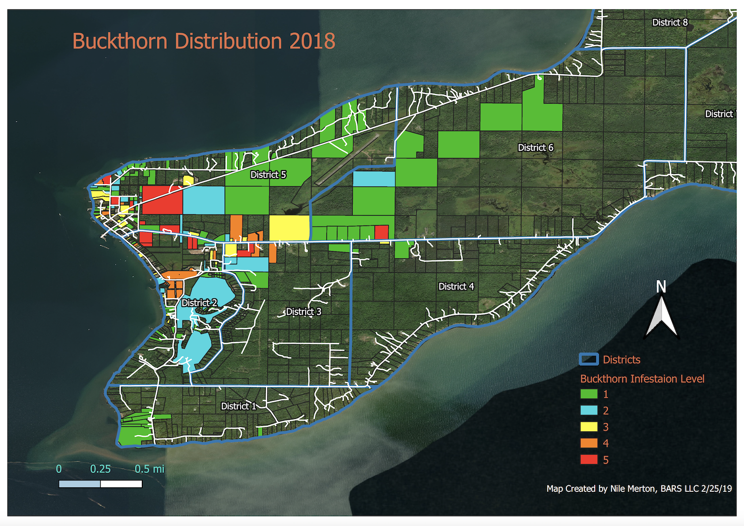 Buckthorn infestation on Madeline Island (1 = lowest, red = highest)
