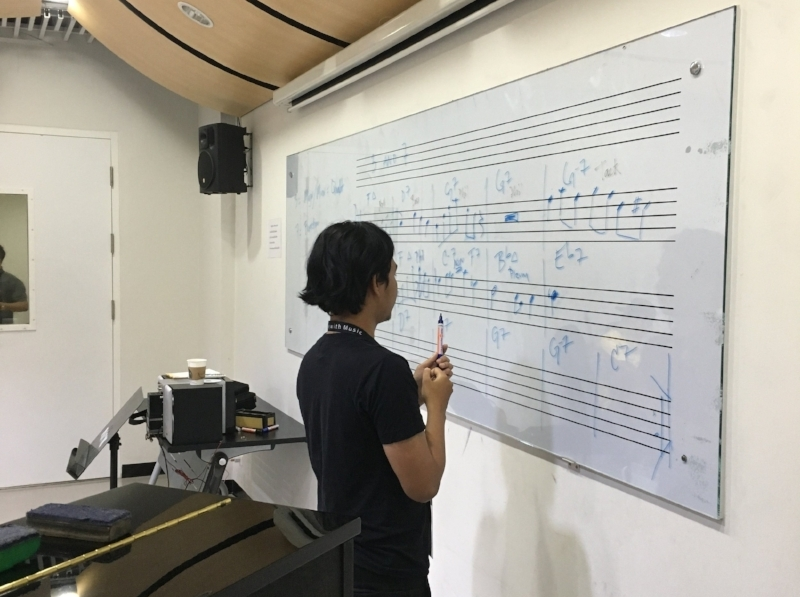 Improv class, working as a group, to write out a solo