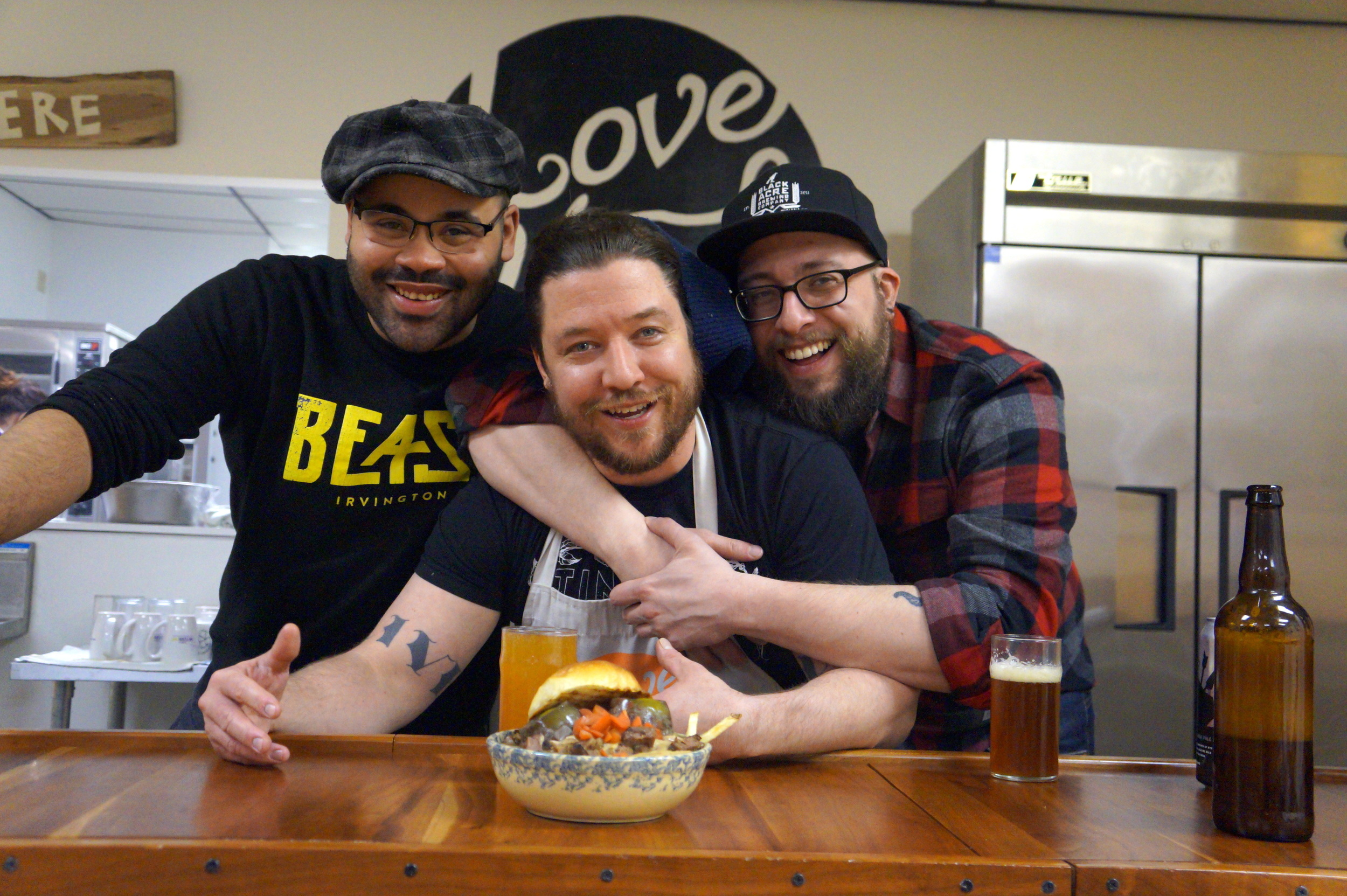 BEAST's Chef Michaels (left) joined by  Love Handle  owner / chef Chris Benedyk (center) and  Black Acre  brewer / chef Steve Ruby (right.)