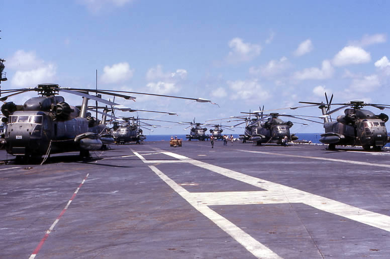 CH-53_helicopters_on_USS_Midway_(CV-41),_April_1975