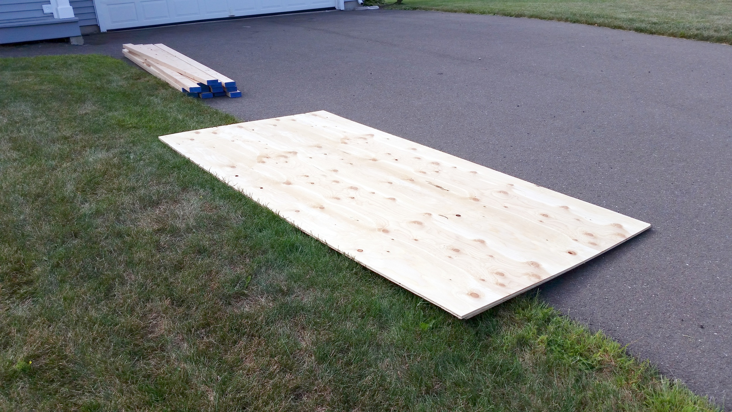 "I ordered the material from a local lumber yard. In addition I used some wood glue and a 10 pound box of 3"" wood screws. The table surfaces are 4 feet by 8 feet of 3/8"" plywood. Total cost was around $100."