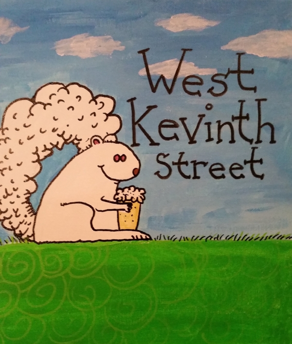 """Saturday, April 15th. 2 pm to 3:30 (Independent studio time until 6)  Create your very own cartoon painting of Kevin the albino squirrel of W. 7th street.  (Or one of his friends)  $30 fee includes :  12""""x12"""" canvas  Black paint marker  Use of sketching and painting materials  Technique and instruction by local artist/cartoonist Steve Conroy  Cookies    This is gonna sell out fast. So register today!"""