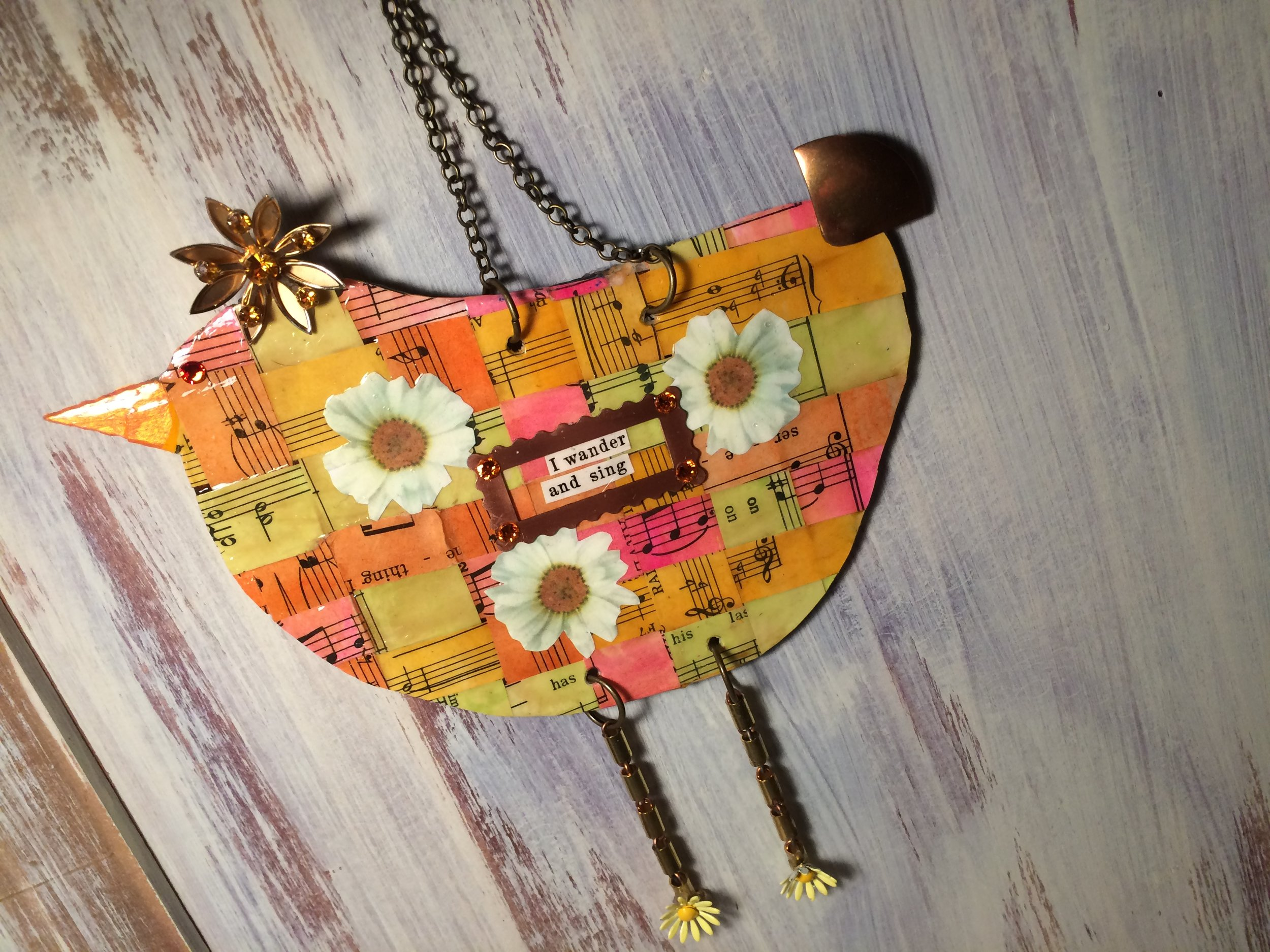 """Metal Bird Workshop  Saturday, June 3, 1-4 pm  The size of the birds are about 7"""" wide, and 4"""" long, before legs and other embellishments are added.  Diana will demonstrate techniques to embellish and personalize this unique art.  Materials included  Minimum of 6 in the class.  $75. per person"""