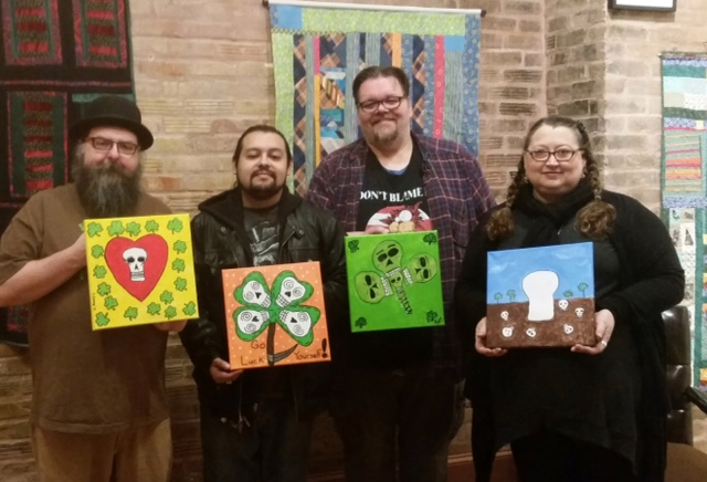 """Day of the dead cartoon skull class.  Two opportunities:   Friday, October 27th 6 to 9    Saturday, October 28th 1 to 5   Create your own unique cartoon skull painting just in time for Halloween and the Day of the Dead.  Local artist/cartoonist (and creator of the locally famous Skulltruck ) will share his techniques and instruct you to create your very own skull painting.   Class fee $30   Includes:  12""""x12"""" canvas  Sketching and painting materials  1 hour of instruction with Steve  3 or more hours of independent studio time ( with guidance as needed)  Cookies (your are welcome to bring your own snacks and adult beverage of choice)  Use of a beautiful studio space.     This class is very popular. So reserve your spot today. Space is limited."""