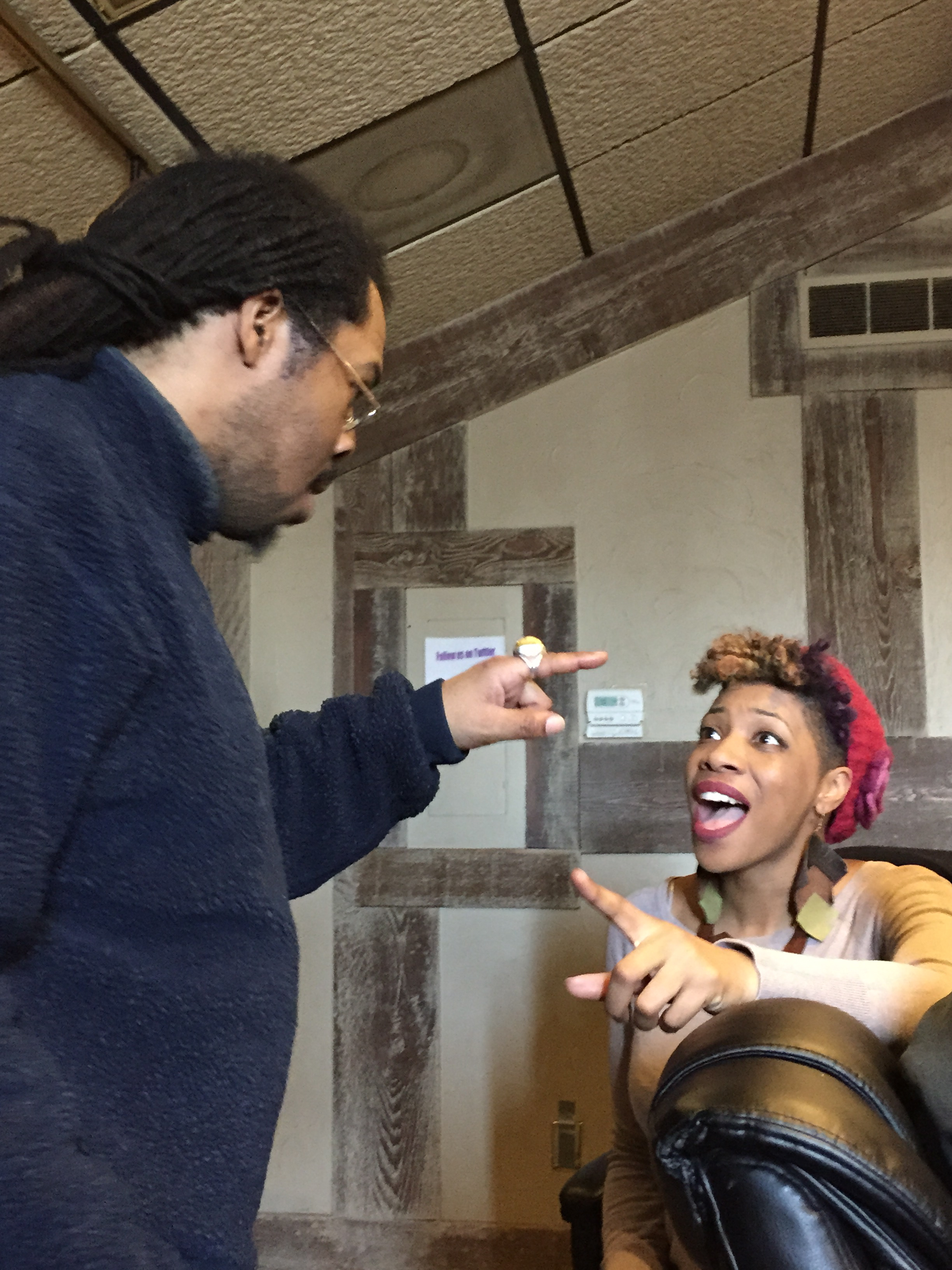 Pirahna and Carmen working through vocal ideas