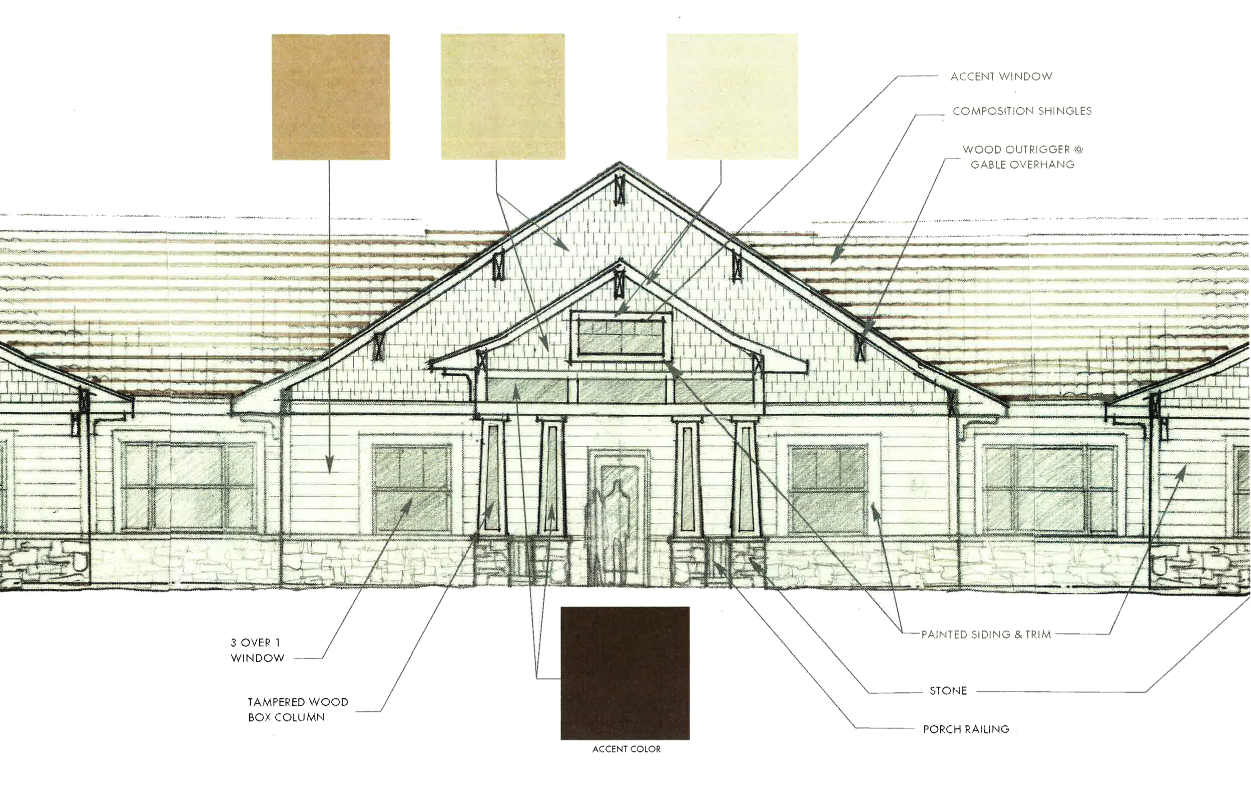 Autumn Leaves assisted living, exterior materials drawing