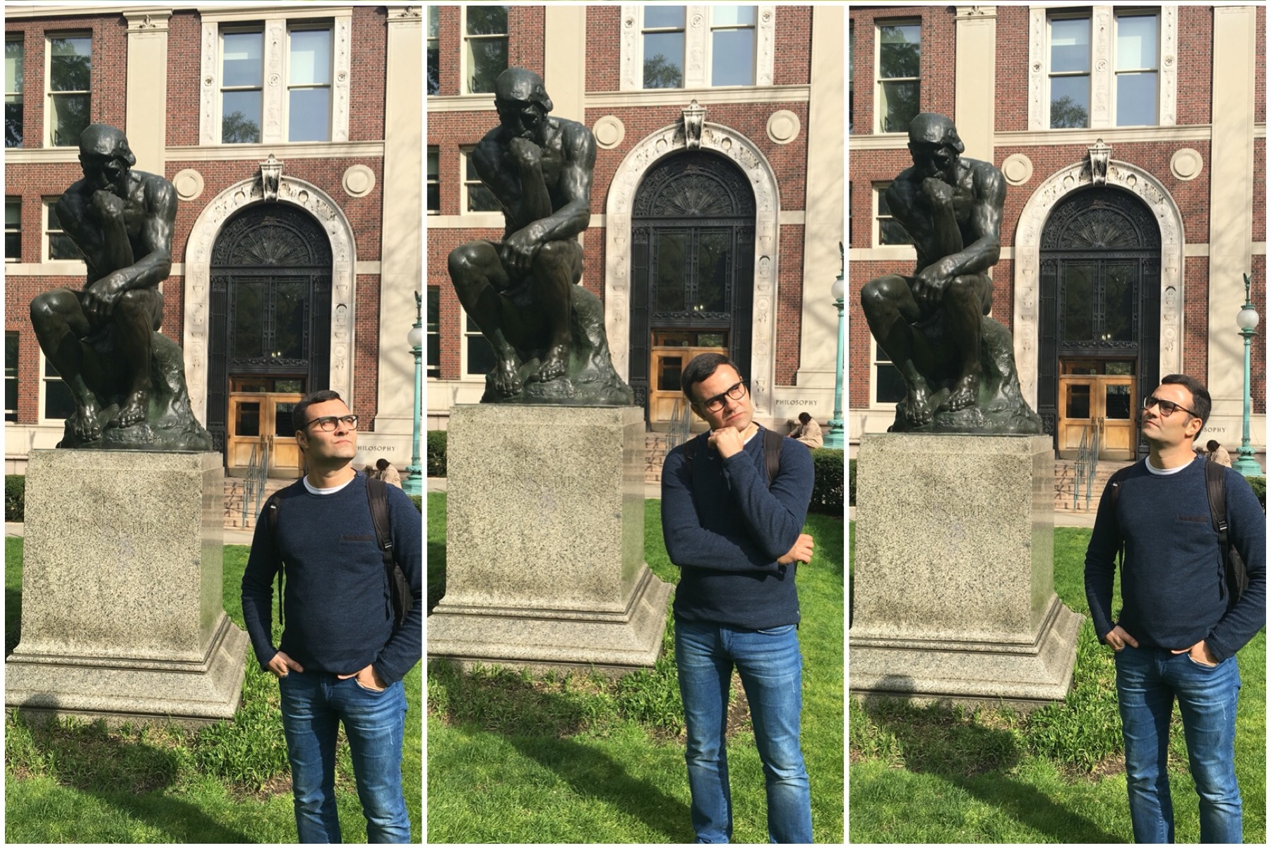 Murilo getting pensive with the famous sculpture  The Thinker  by Auguste Rodin.