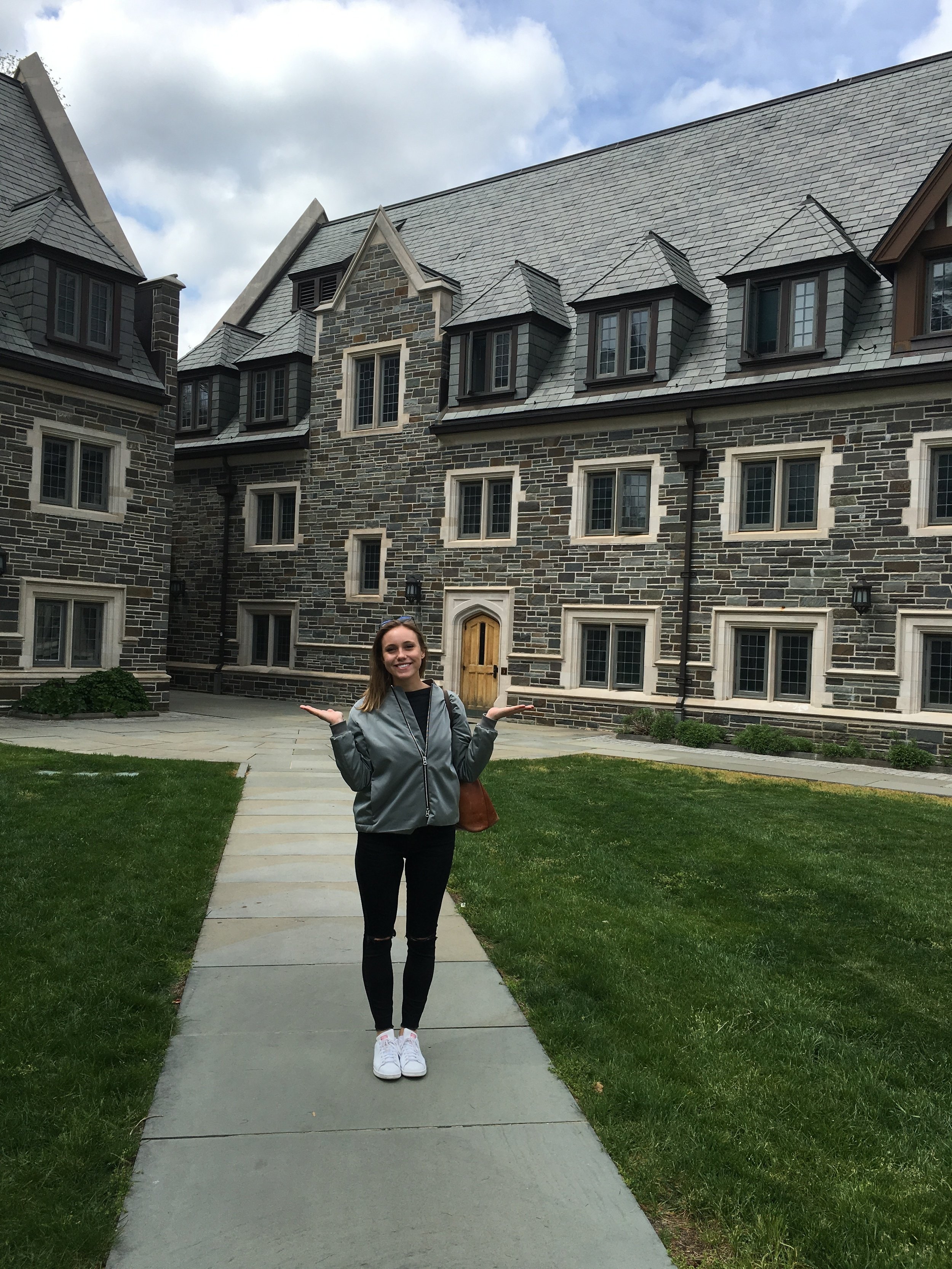 Julia in front of her Freshman and Sophomore year dorm in Whitman Residential College!