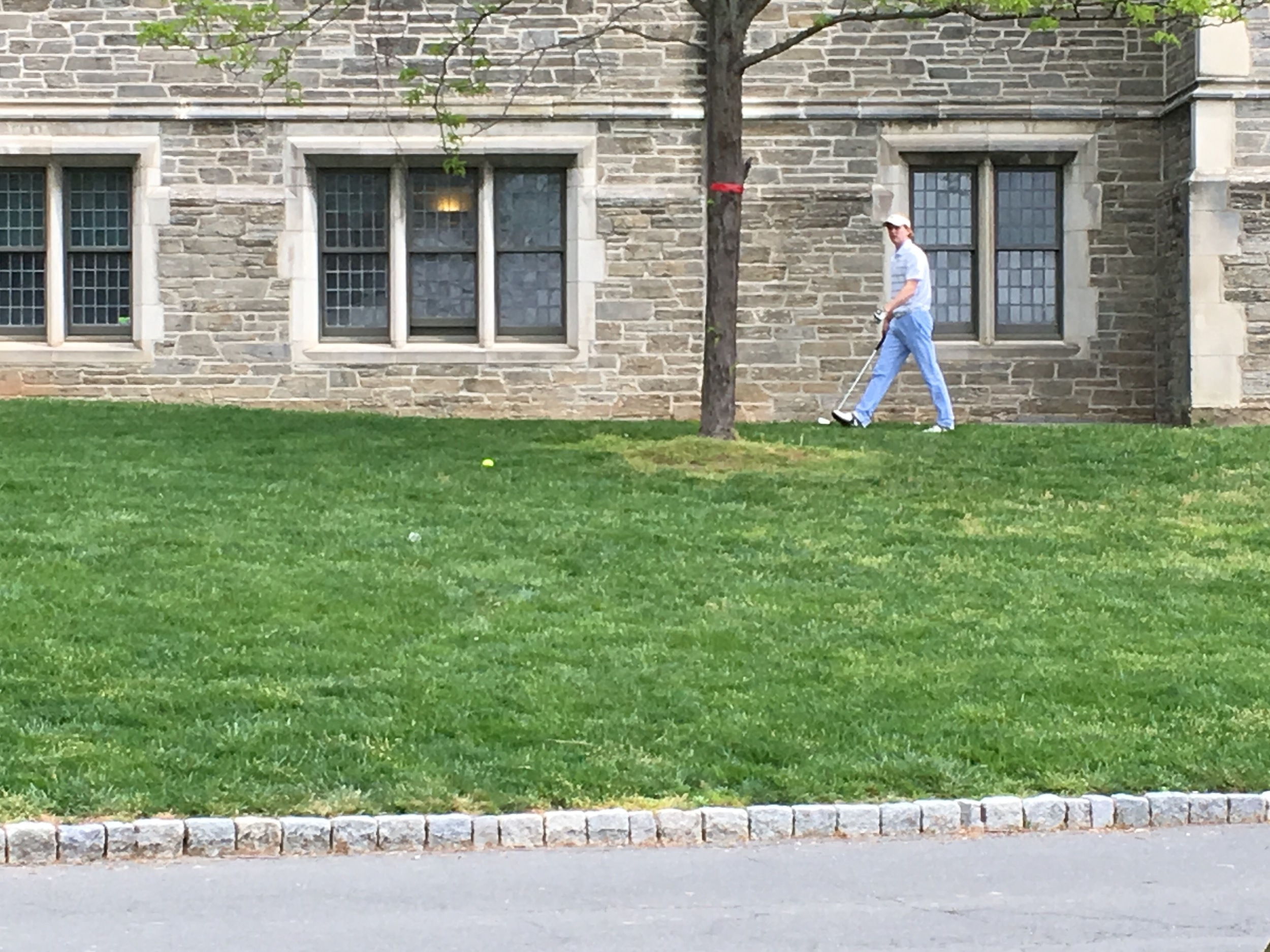 Murilo thought these guys walking around campus playing golf were hilarious.