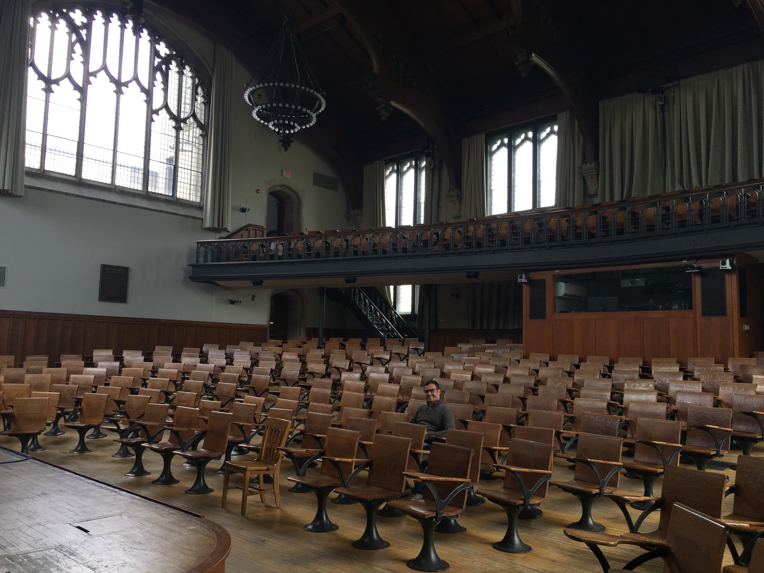 Murilo in in McCosh 50, the largest lecture hall on campus