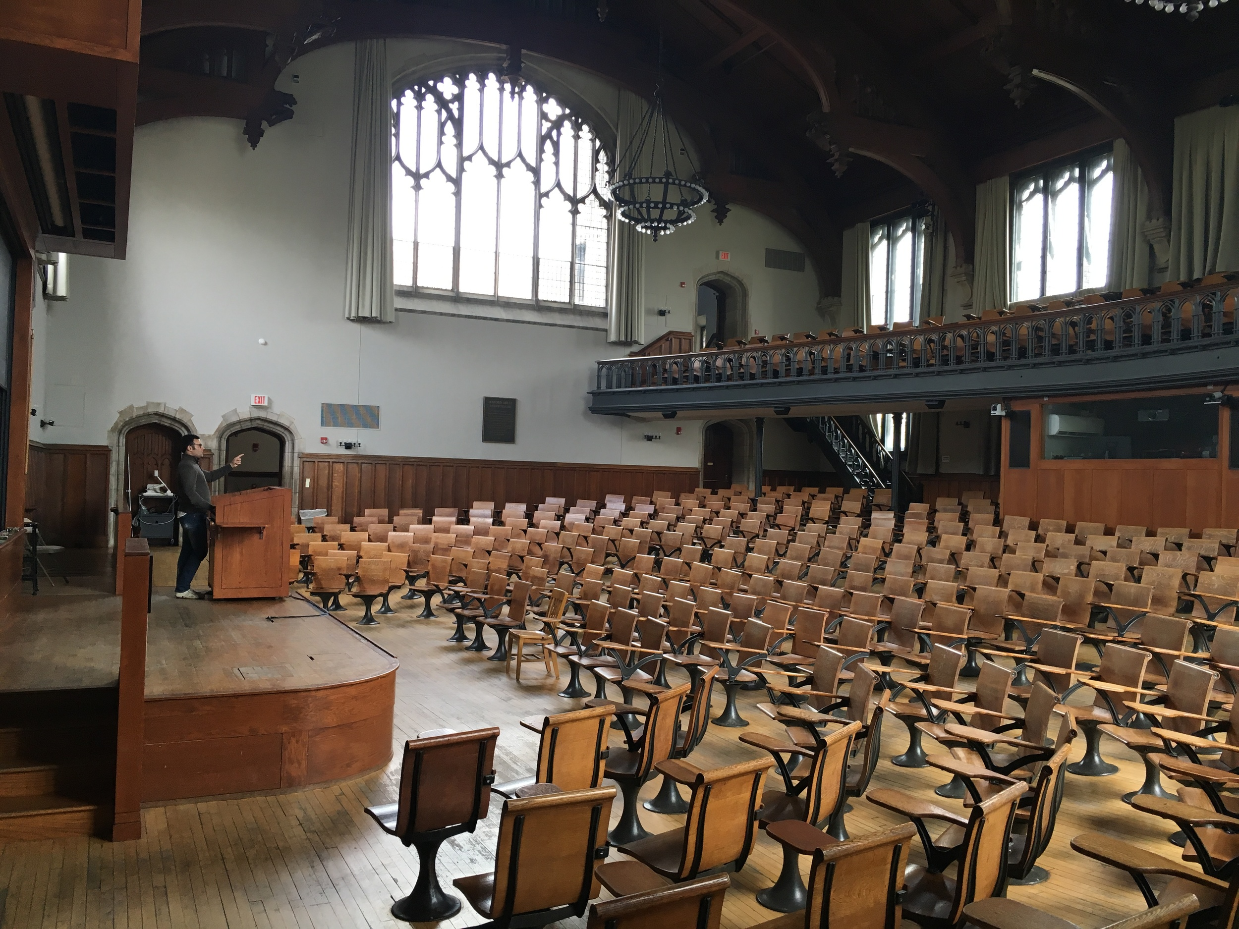 Murilo playing professor in McCosh 50, the largest lecture hall on campus.