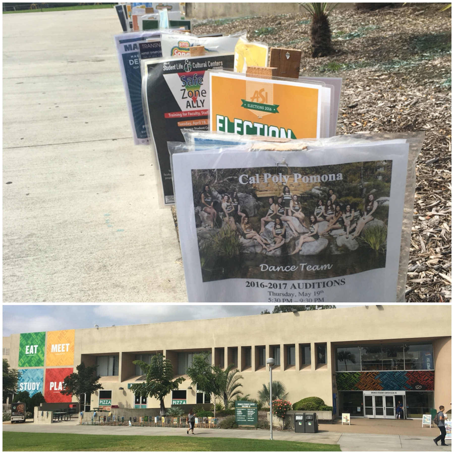 Flyers outside the Student Center
