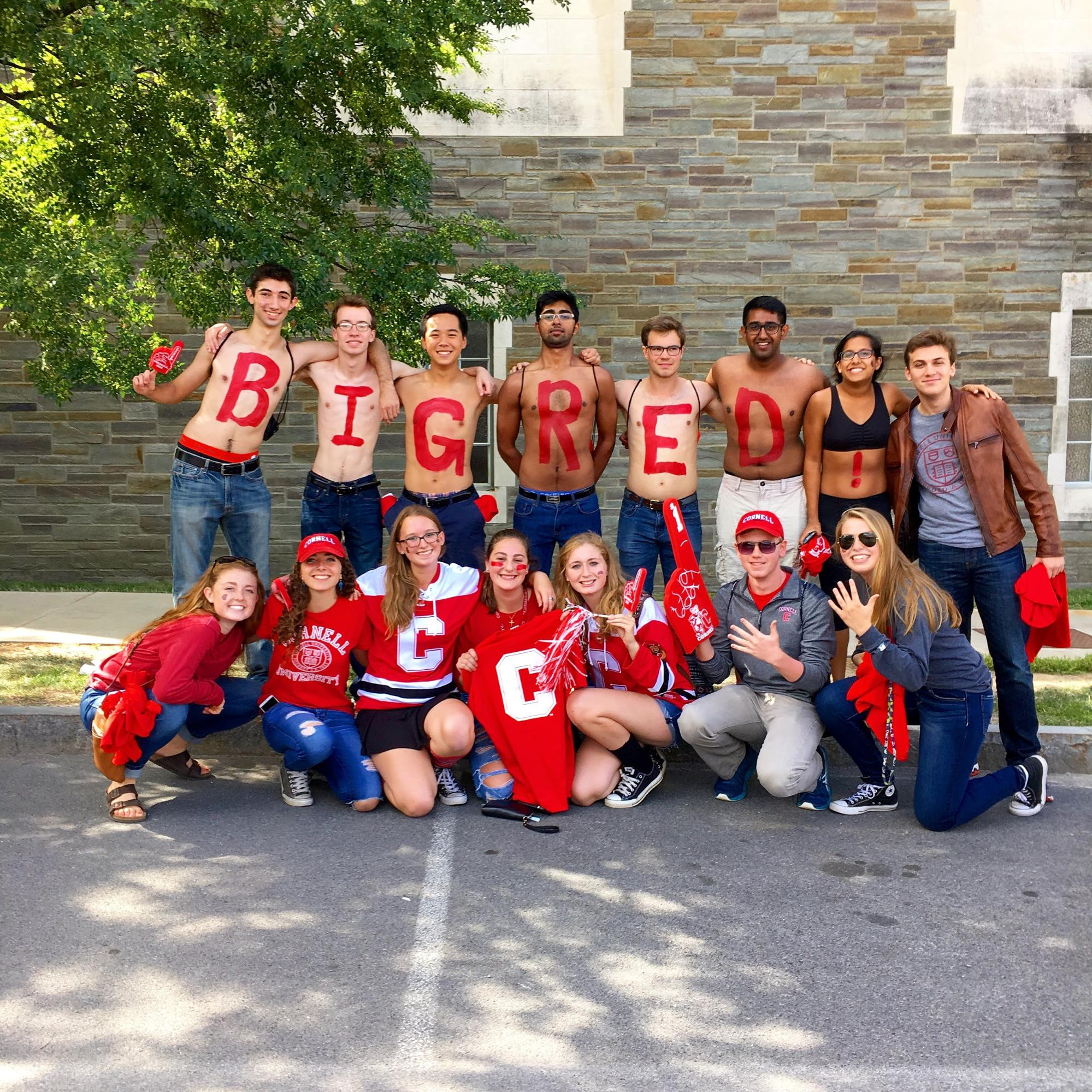 Alex and some friends showing school spirit before the Homecoming football game, Go Big Red!