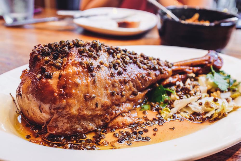Turkey Leg Confit, Crispy Lentils, Treviso, Endive, & Agrodolce @ The Purple Pig