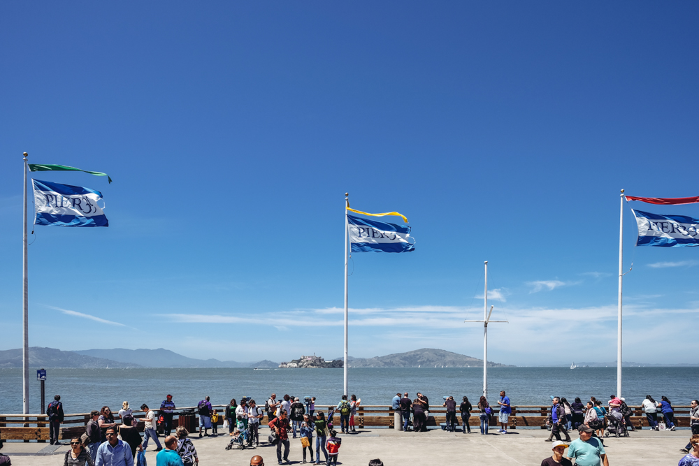 Pier 39 with a view of Alcatraz