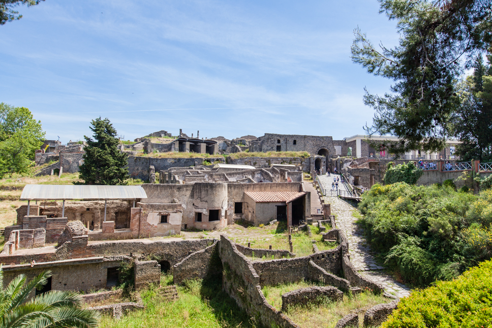 Pompeii is an  ancient Roman town that was destroyed by the eruption of Mt. Vesuvius in AD 79.  From what they say, the city was preserved for hundreds of years beneath the ash due to lack of air and moisture.
