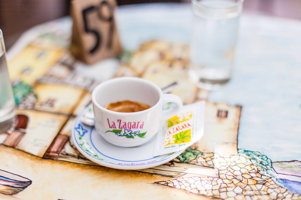 Nothing like an Italian espresso to start the morning.  La Zagara is one of the many bakeries along the main street in the center of Positano.