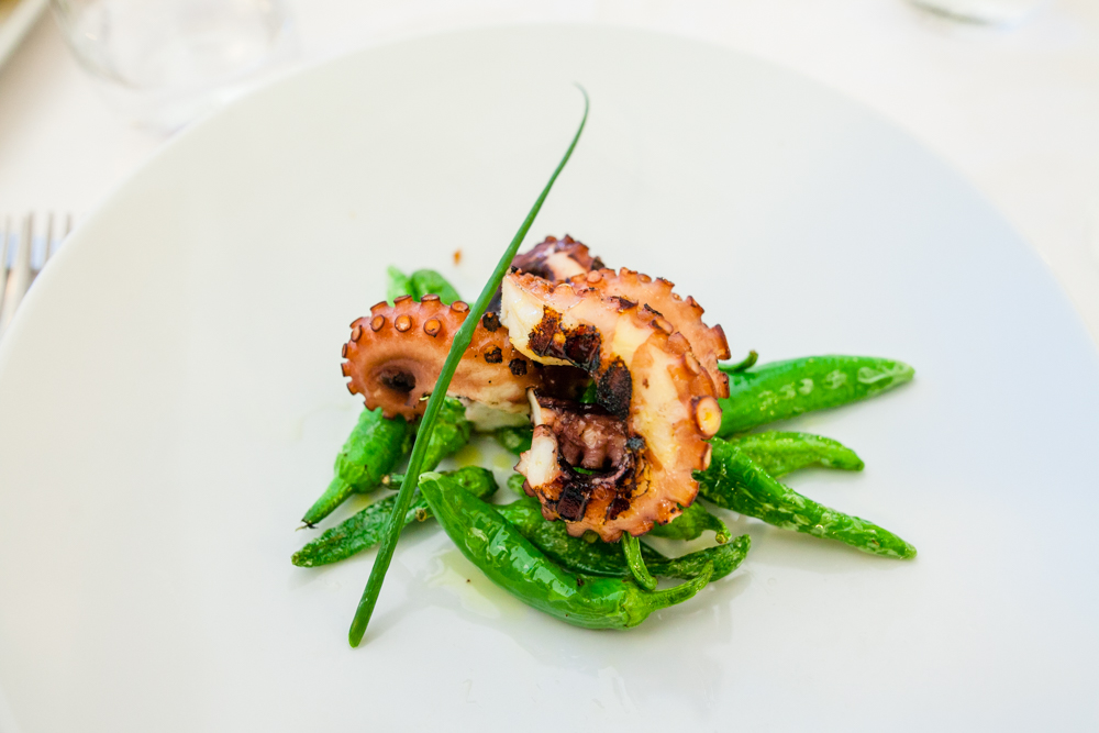 Poplo arrosto e frirarielli - grilled octopus with sauteed sweet green peppers
