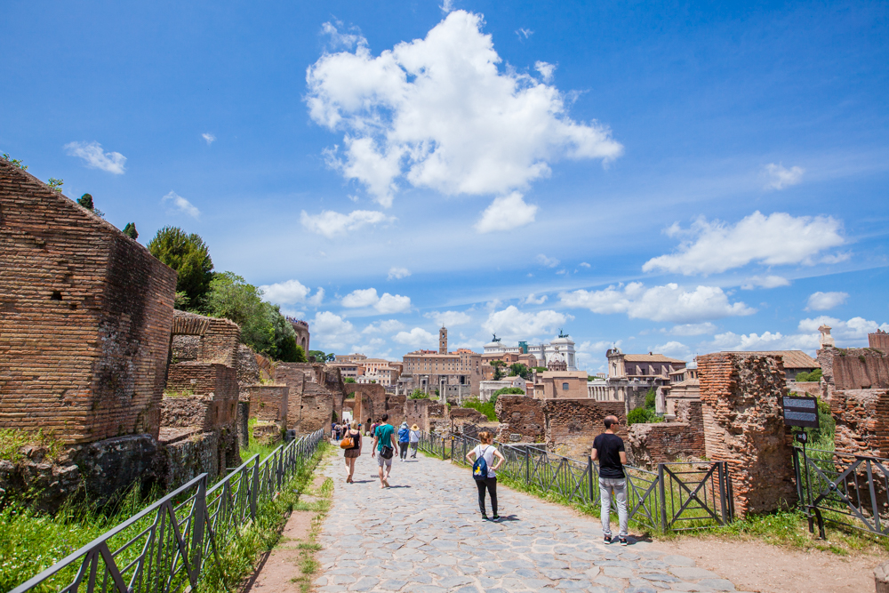 The Roman Forum, which was the center of Roman life for centures.  It holds the ruins of several ancient government buildings