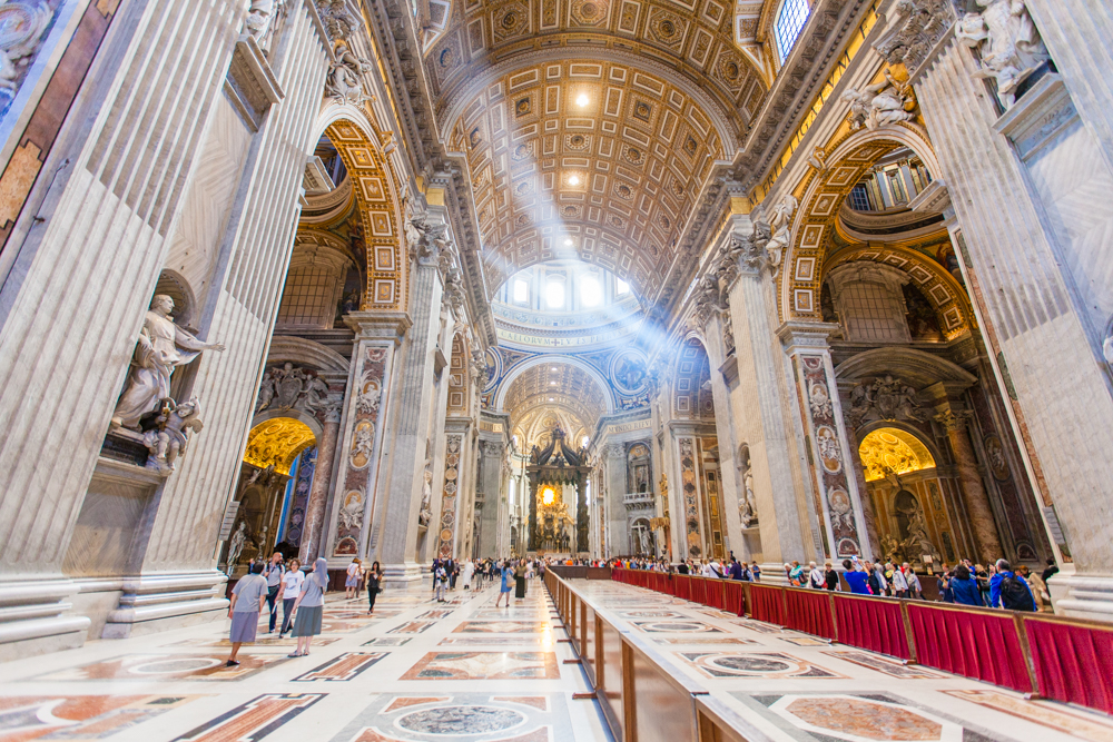 Crepuscular rays inside St. Peter's Basilica