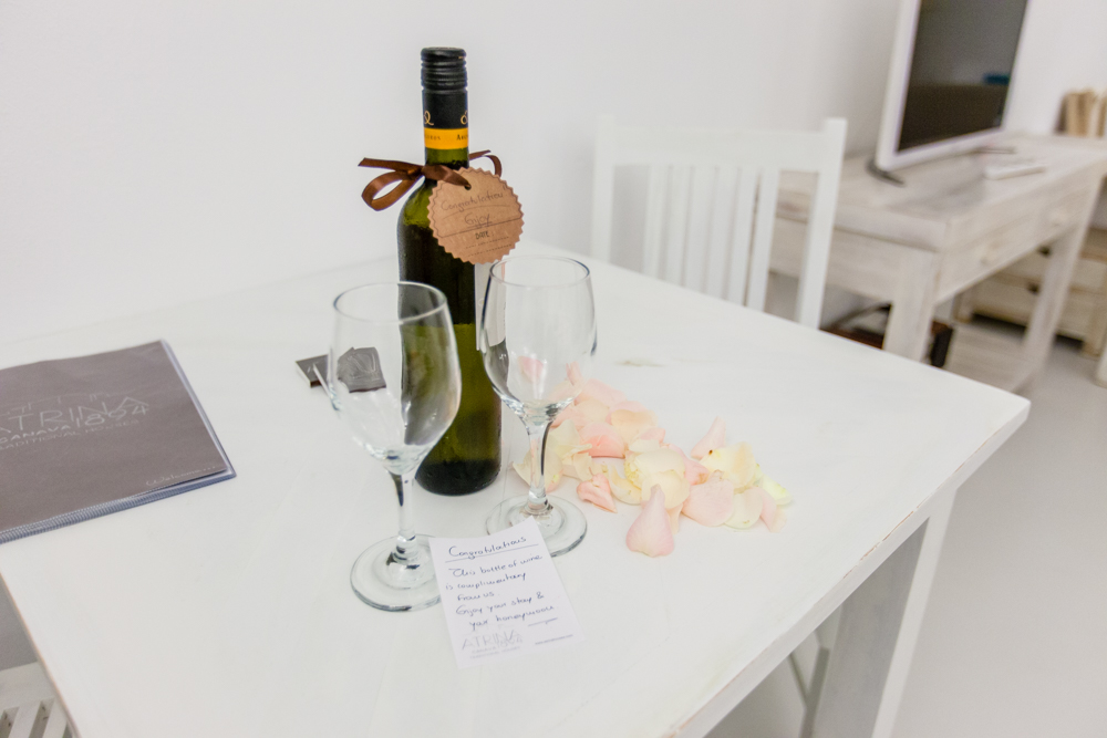 As you can see, they paid very close attention to detail.  This complimentary bottle of wine and rose petals were waiting for us, along with a hand-written note congratulating us on our recent nuptials.