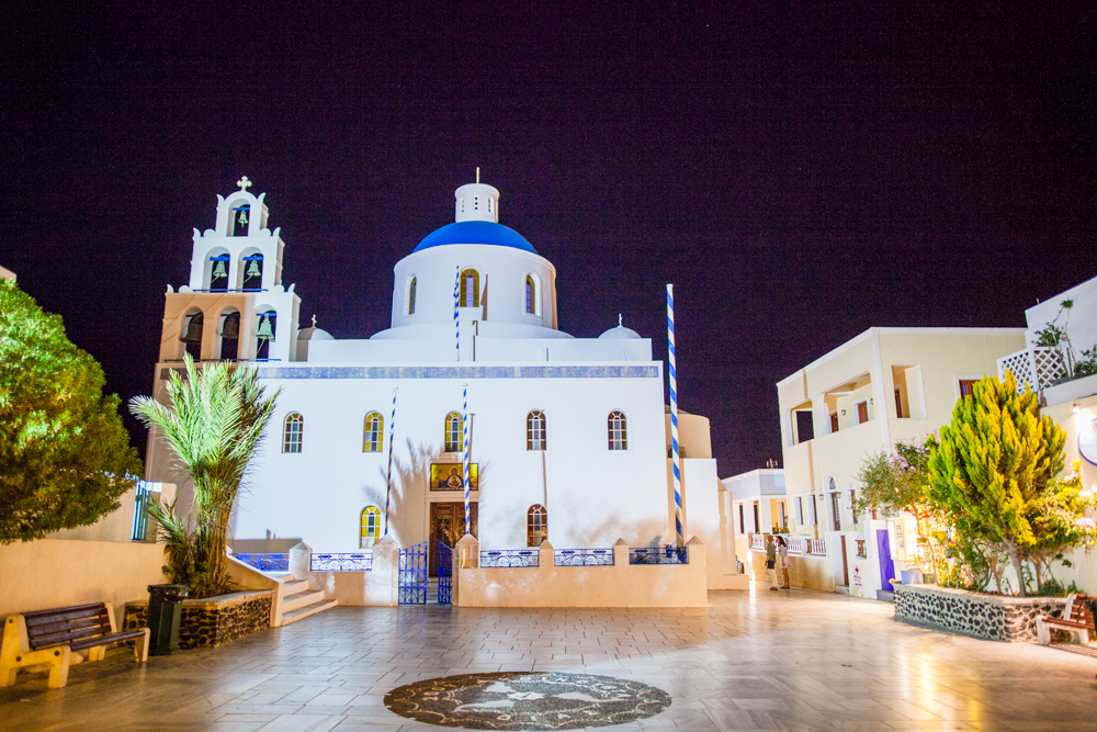 The Church of Panagia Platsani.  During the day, this square is filled with vendors and musicians.