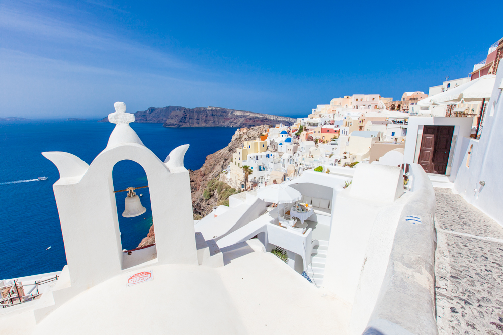 Exploring one of the staircases. Santorini is filled with some of the most simple and beautiful churches.