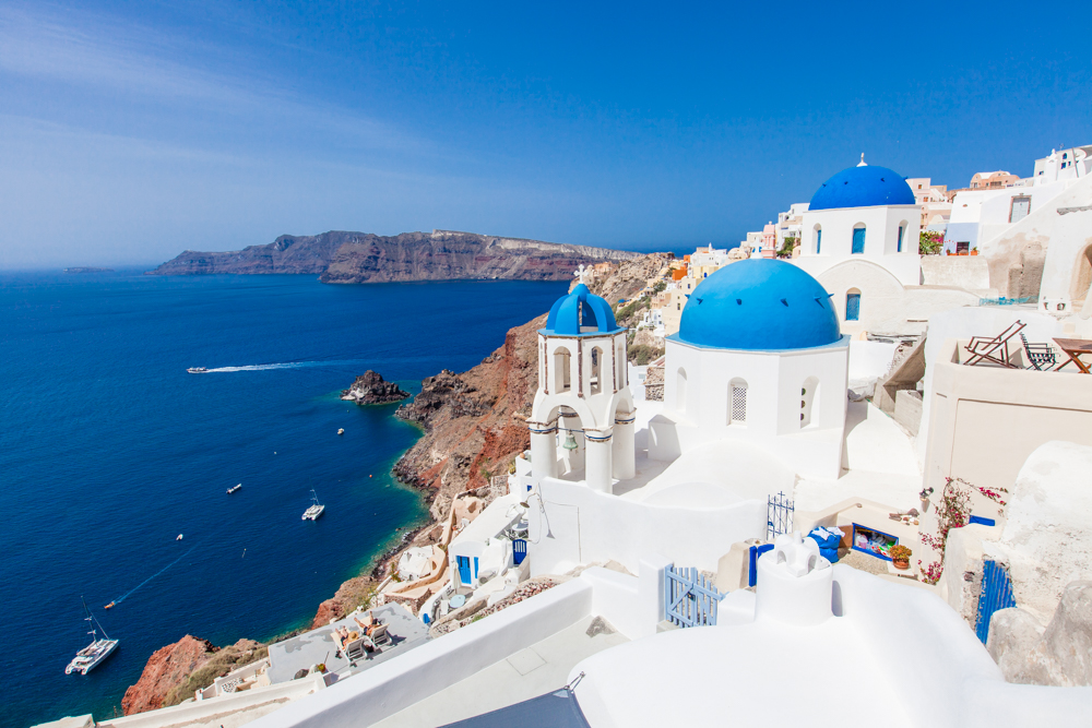 """Some of my favorite views weren't from areas marked as """"scenic look-out points""""; there's a lot of exploring to be done in Santorini."""