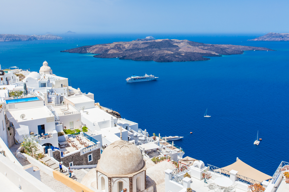 Fira is the capital of Santorini and it is much larger than Oia, which means more room for tour groups and cruise ships.
