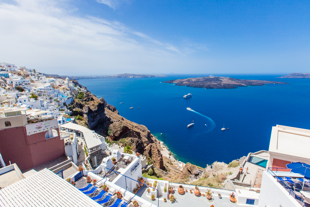Our hike hasn't even started yet and we are amazed by the scenic views and deep blue waters.  Fira is closer to the center of Santorini (as opposed to Oia), which gives it a different vantage point.