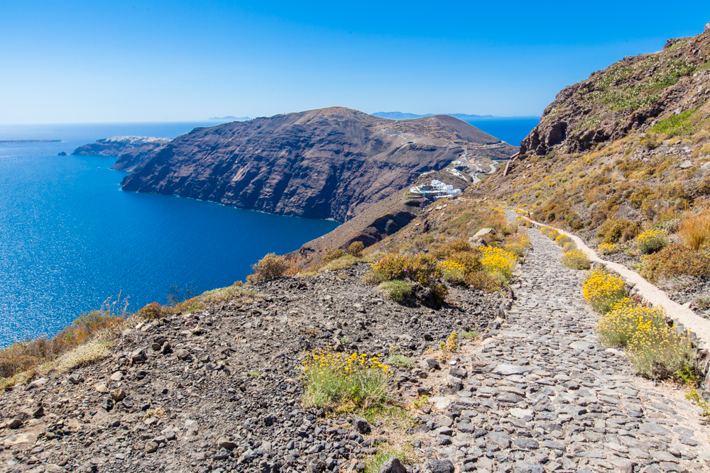 A little less than halfway back to Oia. As you can see, Oia's still in the distance at the very end of the caldera.
