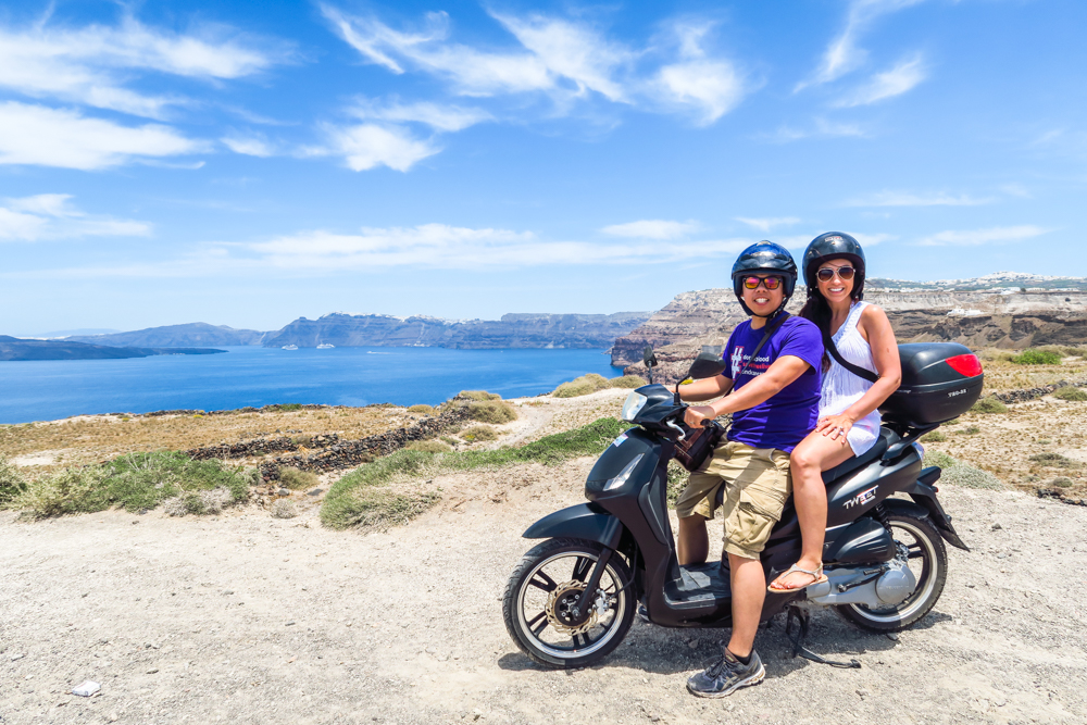 The island of Santorini (from Oia to Akrotiri) is only about 16 miles.  There are plenty of scenic points along the way, so make sure to bring your camera.