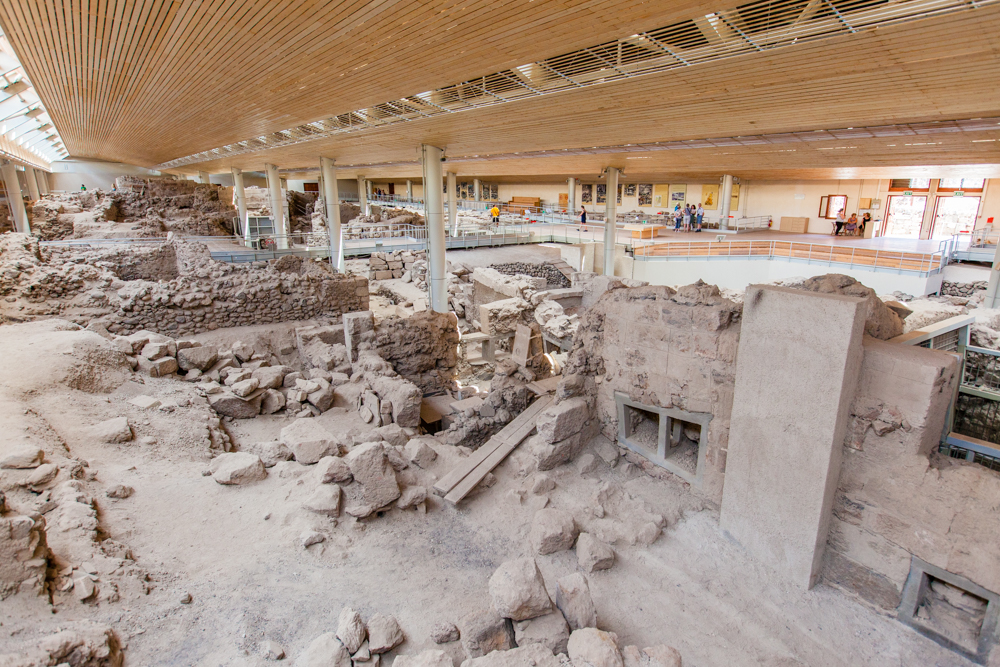 Akrotiri was a sophisticated village with paved streets, extensive drainage system, and high-quality crafts.