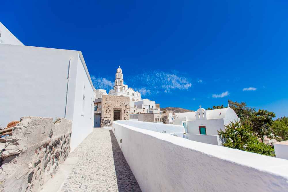 After touring Akrotiri, we rode up the hill to the town of Pyrgos.  Since P yrgos is perched high on top of a hill, there are panoramic views of the entire island of Santorini.