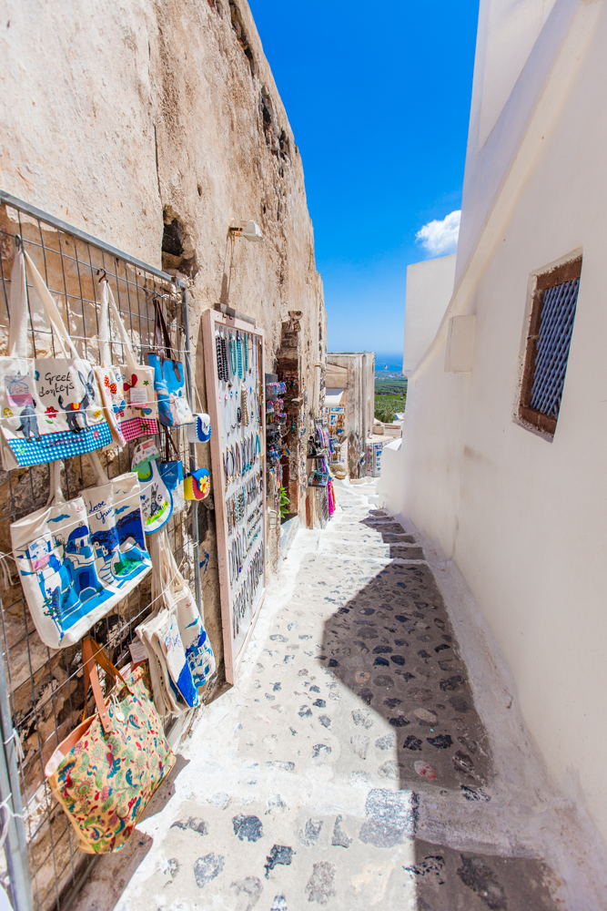 Pyrgos has the typical shops and boutiques of Santorini.  However, you'll feel like you have the entire town to yourself.