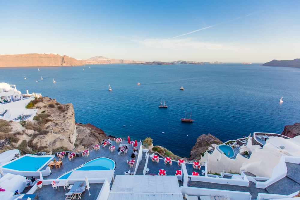 Although we had rented the scooter for 24 hours, we decided to return it early since we knew we would be leaving Santorini tomorrow.  We ate dinner back in Oia and this was our view!