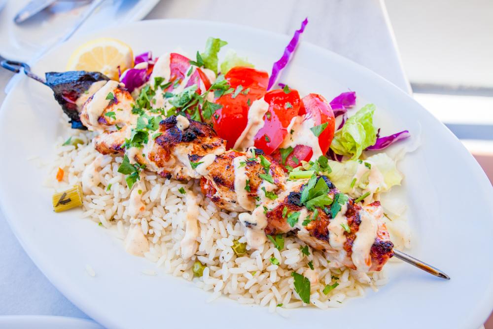 Chicken kabob over rice