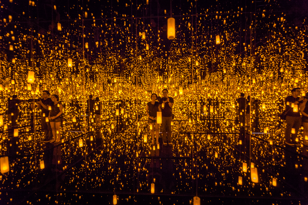 Aftermath of Obliteration of Eternity; a small room where they only allow a few people at a time. You stand on a tiny platform and are surrounded by water, mirrors, and hundreds of magical lights that slowly illuminate and then fade into darkness.
