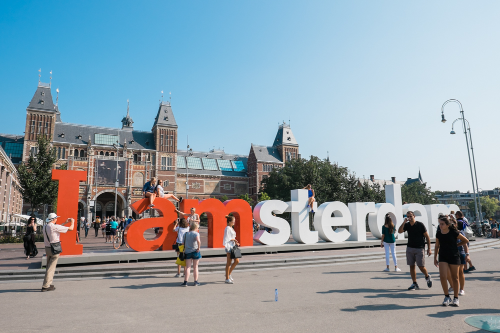 """One of the """"I amsterdam"""" signs in front of the Rijksmuseum"""