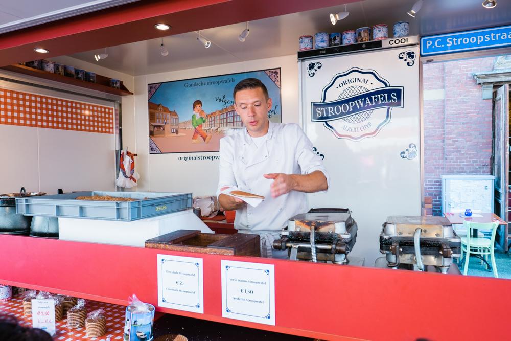 Freshly-made stroopwafel (1.50 euros)in Albert Cuyp Market