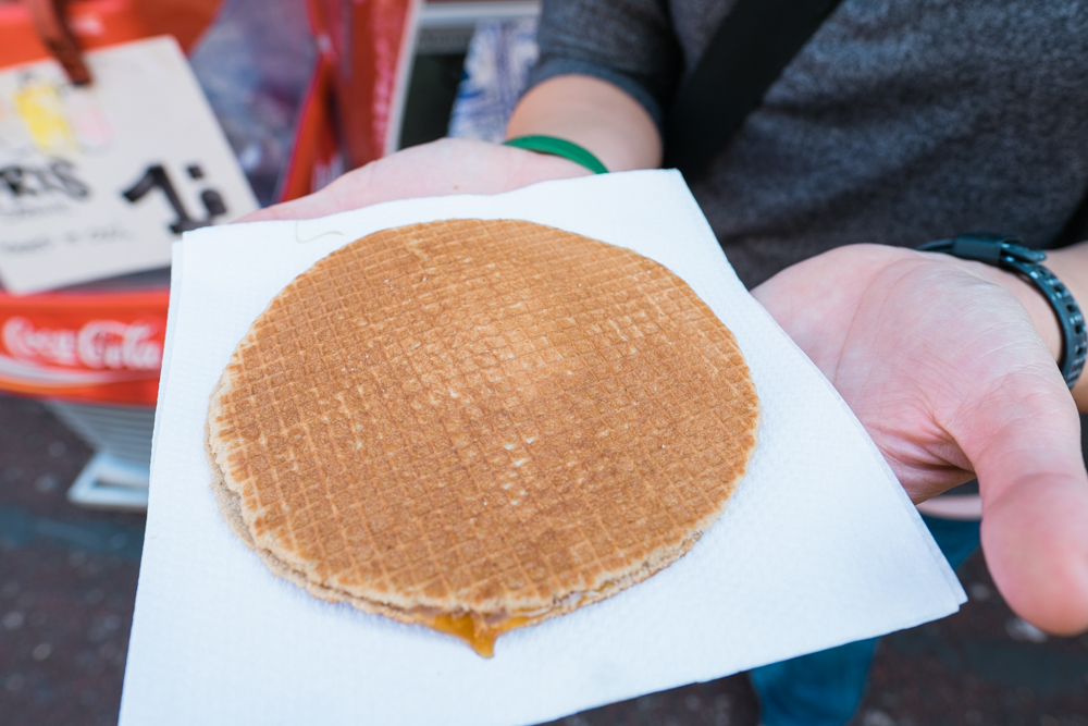 Stroopwafel is popular in the Netherlands (a waffle made from two thin layers of baked dough, filled with a caramel-like syrup in the middle)