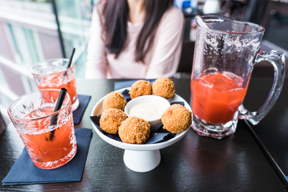 Bitterballen (a meat-based snack, usually filled with beef and a gravy-type filling) and a pitcher of Pimm's punch
