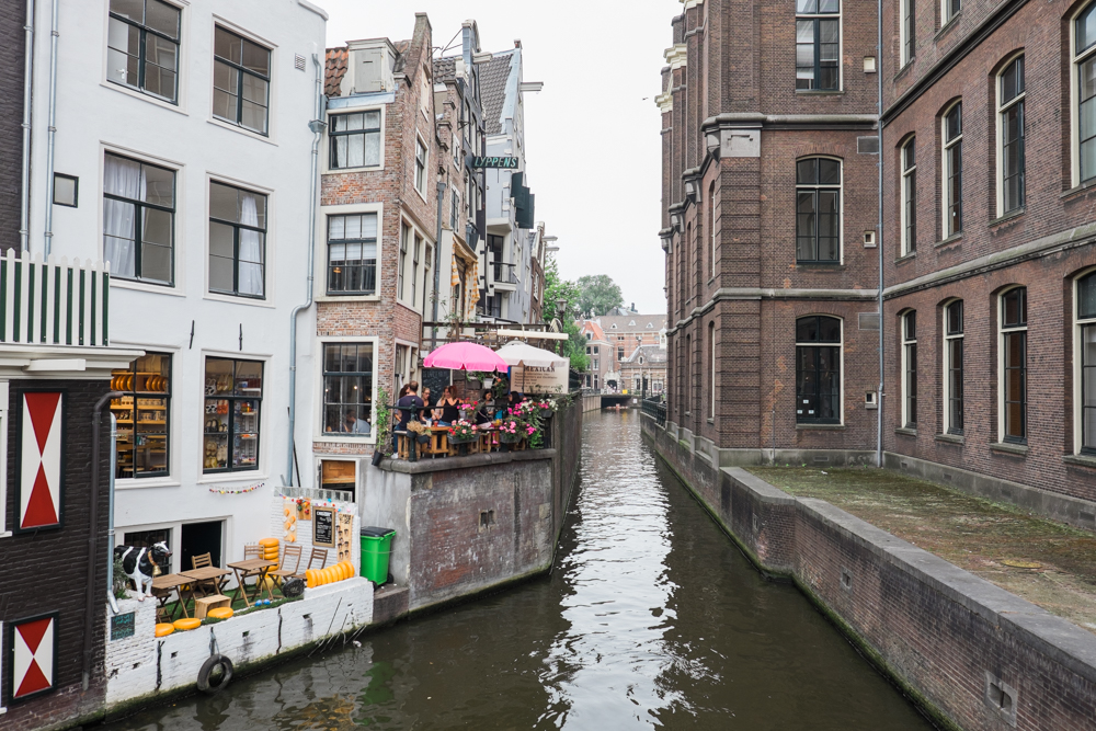 Small cafe balconies overlooking the canal