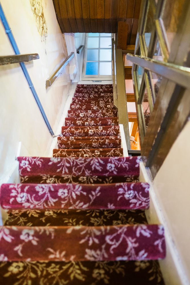 The building to The Upstairs Pancake House dates back to the 16th century, so the staircase is very steep.